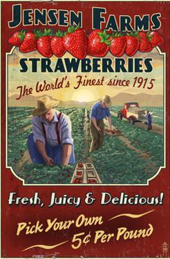 Strawberry Farm - Vintage Sign by Lantern Press
