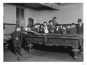 Street Boys Playing Billiards at the Boys Club Photograph - New Haven, CT by Lantern Press