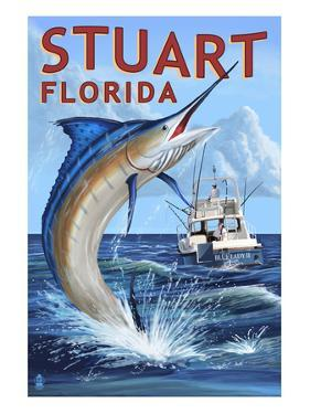 Stuart, Florida - Marlin Fishing Scene by Lantern Press