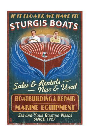 Sturgis, Michigan - Wooden Boats - Vintage Sign