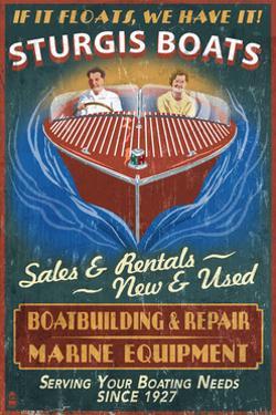 Sturgis, Michigan - Wooden Boats - Vintage Sign by Lantern Press