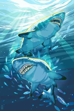 Stylized Tiger Sharks by Lantern Press