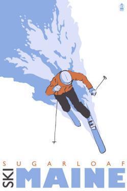 Sugarloaf, Maine, Stylized Skier by Lantern Press