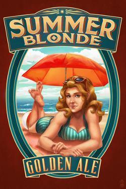 Summer Blonde Golden Ale Pinup Girl by Lantern Press