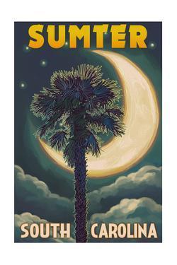 Sumter, South Carolina - Palmetto Moon and Palm by Lantern Press
