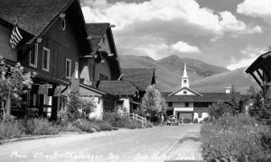 Sun Valley, Idaho - Main Street View of Challenger Inn by Lantern Press