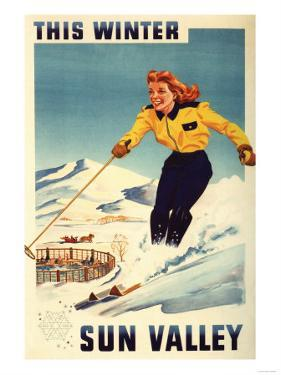 Sun Valley, Idaho - Red-headed Woman Smiling and Skiing Poster by Lantern Press