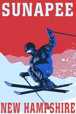Sunapee, New Hampshire - Colorblocked Skier by Lantern Press