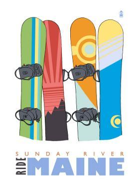 Sunday River, Maine, Snowboards in the Snow by Lantern Press