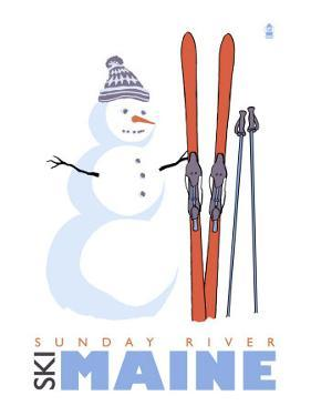 Sunday River, Maine, Snowman with Skis by Lantern Press