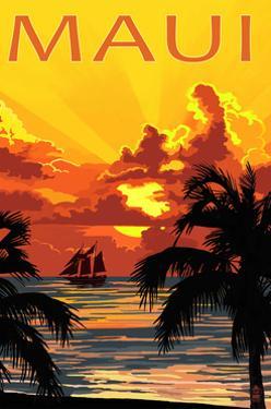 Sunset and Ship - Maui, Hawaii by Lantern Press