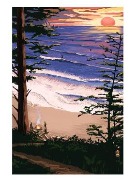 Sunset Beach and Surfers by Lantern Press