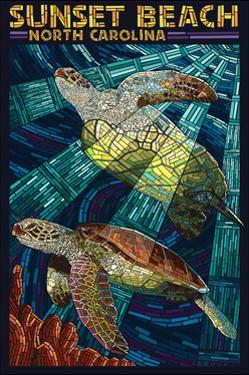 Sunset Beach - Calabash, North Carolina - Sea Turtle Paper Mosaic by Lantern Press