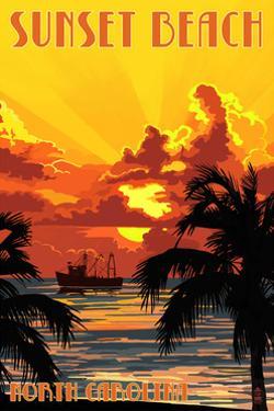 Sunset Beach, North Carolina - Sunset and Ship by Lantern Press
