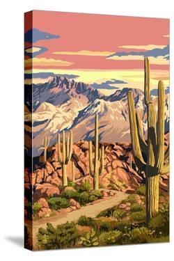 Sunset Desert Scene by Lantern Press