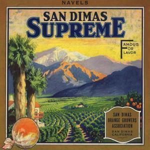 Supreme Brand - San Dimas, California - Citrus Crate Label by Lantern Press