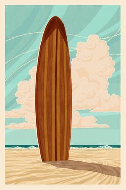 Surfboard - Letterpress by Lantern Press