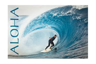 Surfer in Perfect Wave - Aloha by Lantern Press
