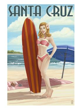 Surfer Pinup Girl - Santa Cruz, California by Lantern Press