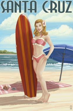 Surfer Pinup Girl - Santa Cruz, California by Lantern Press