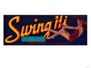 Swing Hi Peach Label - Fresno, CA by Lantern Press
