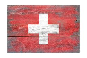Switzerland Country Flag - Barnwood Painting by Lantern Press