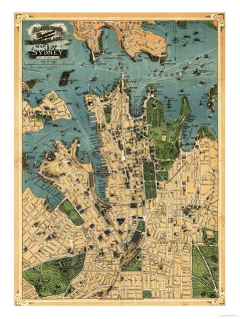 Sydney, Australia - Panoramic Map by Lantern Press