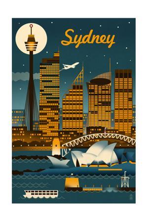 Sydney, Australia - Retro Skyline by Lantern Press