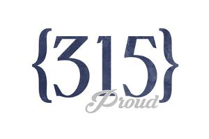 Syracuse, New York - 315 Area Code (Blue) by Lantern Press