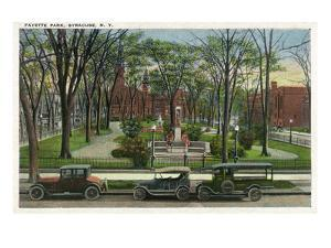 Syracuse, New York - Cars Parked around Fayette Park by Lantern Press