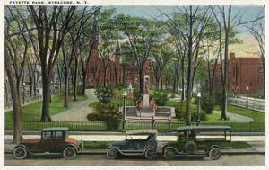 Syracuse, New York - Cars Parked around Fayette Park by Lantern Press
