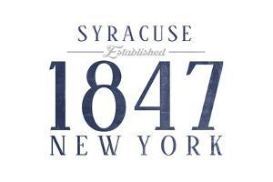 Syracuse, New York - Established Date (Blue) by Lantern Press