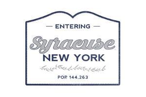 Syracuse, New York - Now Entering (Blue) by Lantern Press