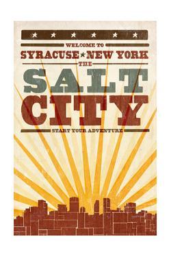 Syracuse, New York - Skyline and Sunburst Screenprint Style by Lantern Press
