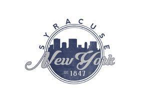 Syracuse, New York - Skyline Seal (Blue) by Lantern Press
