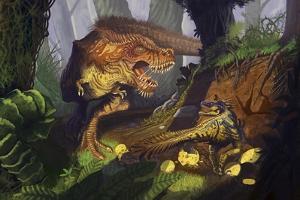 T-Rex Protecting Nest Dinosaur by Lantern Press