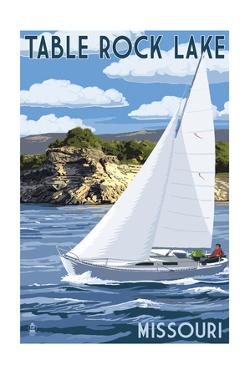 Table Rock Lake, Missouri - Sailboat and Lake by Lantern Press