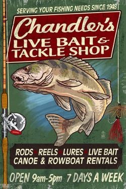 Tackle Shop - Vintage Sign by Lantern Press
