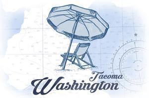 Tacoma, Washington - Beach Chair and Umbrella - Blue - Coastal Icon by Lantern Press