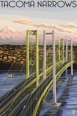 Tacoma, Washington - Narrows Bridge and Rainier by Lantern Press