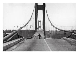 Tacoma, Washington - November 7, 1940 - Tacoma Narrows Bridge - Man on Bridge by Lantern Press