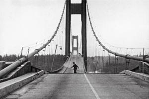 Tacoma, Washington - November 7, 1940 - Tacoma Narrows Bridge - Man on Bridge by Lantern Press