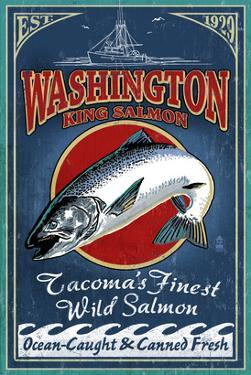Tacoma, Washington - Salmon by Lantern Press