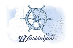 Tacoma, Washington - Ship Wheel - Blue - Coastal Icon by Lantern Press