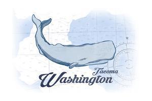 Tacoma, Washington - Whale - Blue - Coastal Icon by Lantern Press