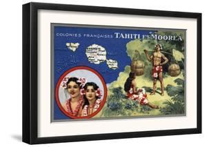 Tahiti - Map of the Island and Moorea Island, Natives Wearing Lais by Lantern Press