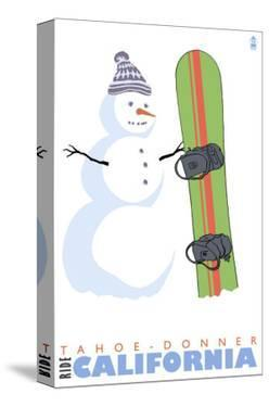 Tahoe-Donner, California, Snowman with Snowboard by Lantern Press