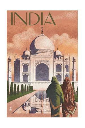 Taj Mahal, India - Lithograph Style by Lantern Press