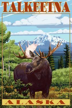 Talkeetna, Alaska - Moose Scene by Lantern Press