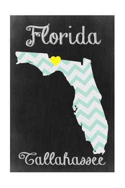 Tallahassee, Florida - Chalkboard State Heart by Lantern Press
